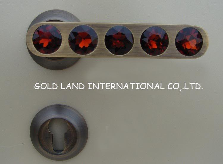 72mm Free shipping 2pcs handles with lock body+keys crystal glass door lock/gate lock bedroom door lock(China (Mainland))