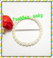 50 mm round shape  pearls ribbon buckle sliders