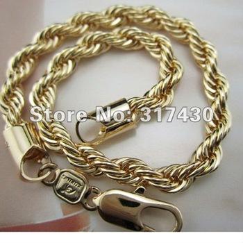 """unisex Bracelet 7.67"""" 18K Yellow Gold Filled Men women's Rope Bracelets Twist-Link Chain GF Jewelry  hot sale"""