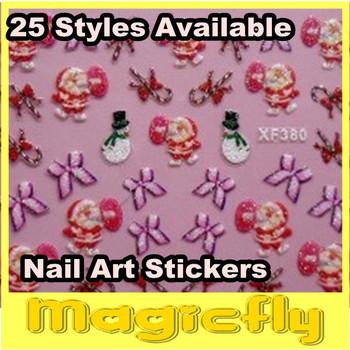[TZL-018]NEW 3D Nail Sticker 100Sets/Lot 25 Models To Choose Christmas Nail Art Sticker+Free Shippig