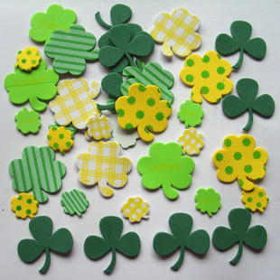 750pcs/25bags/lot Foam shamrock stickers Saint patrick's day crafts Wall stickers Kids toys 1.8-3.6cm Freeshipping(China (Mainland))