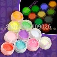 10 pcs Mix Color Nail Acrylic Powder Fluorescence Neon For Nail Art Free Shipping NA832
