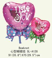 Free Shipping 10pcs/bags wholesales heart bowknot shape foil balloon ,wedding decoration balloon