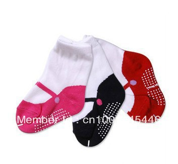 24pairs/lot anti-slip baby ballet socks girl's ankle socks sox infant booties 0-2T free shipping(China (Mainland))