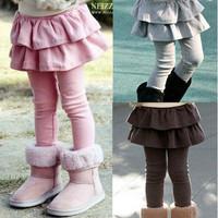 Wholesale 5pcs/lot baby Falbala girls legging pants culotte kids leggings dress trousers children's clothes