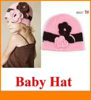 2013 Baby Children New Kids Fashion Girl Beanie Hats Caps Cap Lovely Flower Knitted Knitting Pink Wholesale
