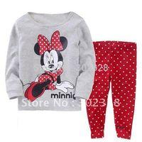 Hot Selling Cute Minnie mouse Girls pajama sets Children Sleepwear Kids 2pcs Clothes set Pyjama sets Free shipping