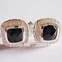Free Shipping 100% 925 Silver Cubic Zirconia   Earrings,Fashion Designer Black Onyx  Stud Earrings