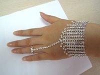 2012  New arrival Free shipping 4pcs/lots macrame chain bridal ring bracelet crystal bracelet and ring wedding BG114533