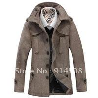 Men England Slim stand-up collar, long coats, men's woolen coat European and American jacket
