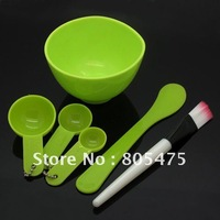 Plastic 4 in 1 DIY Facial Face Mask tool Set ( mask bowl stick spatula brush spoon ) 5 colors green blue pink purple yellow