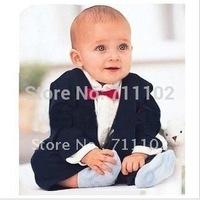 Baby bodysuit boy romper spring autumn kid jumpsuit style clothing red bow tie cravat best man wedding dress night suit cute