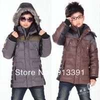 Child down coat male child medium-long fur collar down coat liner Free shipping