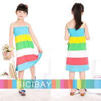 Girls Dress Free Shipping Girls Summer Beach Dress Colors Striped Dress Sleeveless Casual Dress K0386