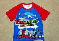 free shipping boys thomas boy short sleeve tops t shirts cotton red white blue