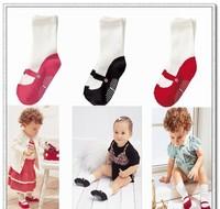 girls children socks in tube socks ballet shoes socks fit 1-3yrs baby kids non-slip socks 15pairs/lot 3 colors free shipping
