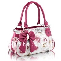 Woman Bow Handbag Big Bowknot Womens Rose Pattern PU Leather Bow Style Handbag Printed Flowers Tote Shoulder Bag
