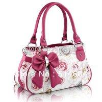 Woman Bow Handbag Big Bowknot Womens Rose Pattern PU Leather Bow Style Handbag Printed Flowers Tote Shoulder Bag