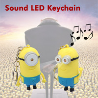 10PCS/LOT Mini LED Flashlight Keychain Despicable Me Minions Key Chain Decoration