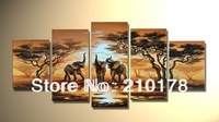 hand-painted wall art elephant sun home decoration Abstract landscape oil painting on canvas 5pcs/set  DY-005