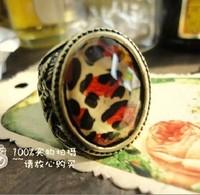 Bronze Antique Retro Leopard Stripe Flower Carving Ring 005