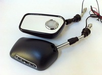 Free shipping(2 sets)+Black color+motorcycle rearview mirrors with MP3 and FM radio