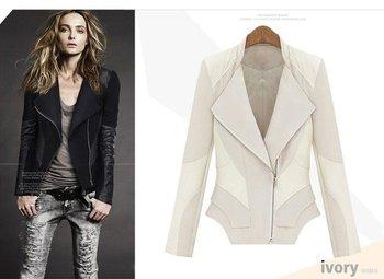Free shipping women PU jacket, lady silk &PU patchwork jacket Lady Slim Winter Coat black, white, S-2XL