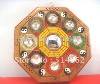 Feng Shui Flying Star Peach Wooden Bagua Mirror Ba Gua 5.5x5.5 Inch