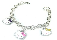 BR242  Free shipping Wholesale 2013 Ally express Hot-sale Girls Bangles KT Bracelets Hello Kitty Pendant Bracelet Women24PCS/LOT