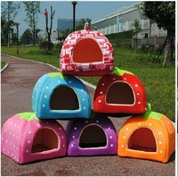 New Cute Lovely Soft Super Cool Sponge Strawberry Pet Dog Cat House Bed 1Pcs free shipping