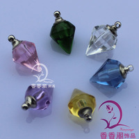 Cone  rice vial pendant   rice jewelry pendant  Name On Rice Vial Jewelry glass perfume bottle pendant