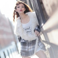 Free shipping!Autumn and winter  2012 autumn and winter tartan material circle oge collar loose coat Ladies jacket