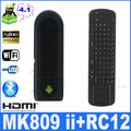 MK809 II Android 4.1 Mini PC HDMI Dongle RK3066 1.6GHz Dual core 1GB RAM 8GB Bluetooth with RC12 air mouse touch board Remote