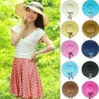 Min.order is $5(mix order) Summer Women's Fashion Straw Hat Leopard Ribbon Wide Brim Hollow Floppy Folding Sun Beach Hat 80173