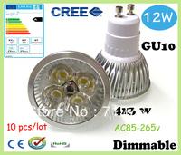 Factory directly sale 10pcs/lot CREE Bulb led bulb GU10 12w 4x3W 110V 220V Dimmable led Light led lamps spotlight free shipping