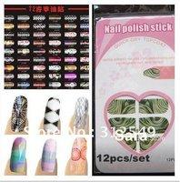 20x 12pcs/set 123designs available New Trendy Nail Polish strips supper thin Nail polish wrap