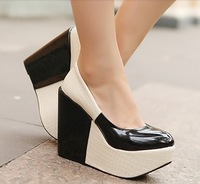 Clean Stock!! 50% OFF Black Size 39 Chic Color Block Platform Pumps Sexy Wedges Shoes for Woman Ladies Casual Dress Shoes Pumps