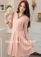 Flower polka dot gauze long-sleeve gentlewomen one-piece dress belt , Free Shipping