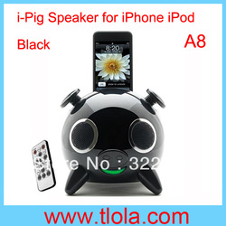 Black Speaker Ipig 2.1 Stereo Docking Station for Ipod Iphone with 5 Speakers Free Shipping(China (Mainland))