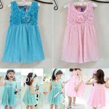 Baby Girls Fashion Blue/ Pink Vest Handmade Rose Chiffon Sweet One-piece Dress