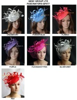 Hot Sinamay Fascinator/Sinamay Hat/Felt fascinator with feathers,satin loop,veiling for wedding races party.FREE SHIPPING