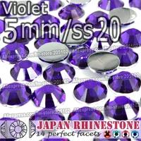 5mm SS20 Violet FlatBack 1500pcs/bag,Nail Crystals Non Hotfix Rhinestones Resin Flat Back stones glitters for Glue DIY Nail Art