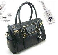 2012  hot sale new Style Fashion  black PU Leather women bear handbags,lady shoulder bag wholesale freeshipping