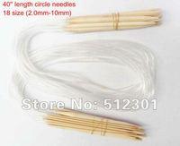 "New 2014 Free shipping 18 Sizes40"" (100cm ) Circular Bamboo Knitting Needles 2.0mm-10mm"