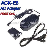 DHL Free 50 pcs ACK-E8 DR-E8 AC Power Adapter Adaptor For Camera CANON EOS 550D 600D 650D 700D Rebel T2i T3i T4i Kiss X4 X5 X6i