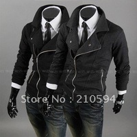 2012  hot cakes clothing personality more zipper catch hair cardigan coat man clothing