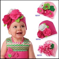 Free shipping 2012 The Newest 100% Cotton Baby Hat Baby Beanie Cap/Flower Hat For Baby Christmas Gift 1 pcs/lot