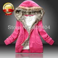 2014 Spring New Fur Collar Sunlun Ladies' Cotton Hooded Jacket Hoodies,Women's Long Sleeve Tracksuits,sport suit women,harajuku