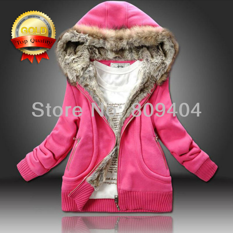 Fur Collar Thicken 0.85KG Aliexpress Top1 Quality Sunlun Ladies' Cotton Hooded Jacket Hoodies 2013 New Arrival Free Shipping(China (Mainland))
