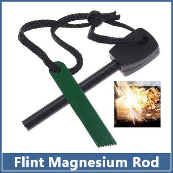 2x Survival Magnesium Flint Stone Fire Starter Lighter Maker Flint Rod Stell Outdoor Camping Kits tool